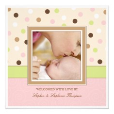 Baby girl birth announcement two photos in pink brown dots back