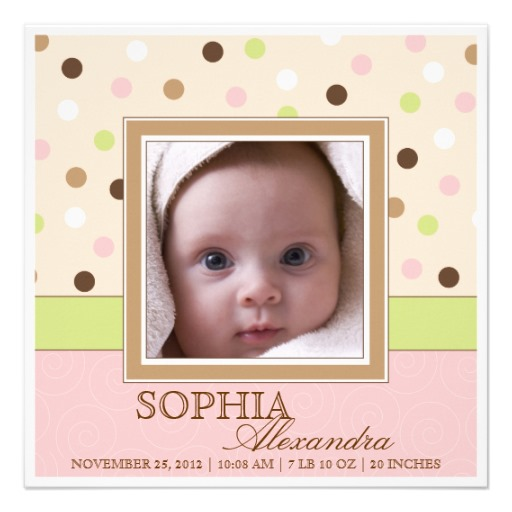 Baby girl birth announcement two photos in pink brown dots