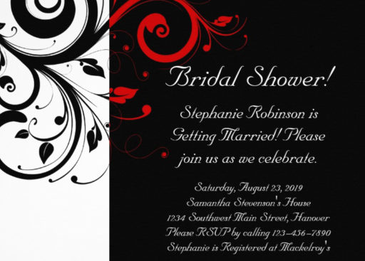 Black White Red Swirl Bridal Shower Invitation