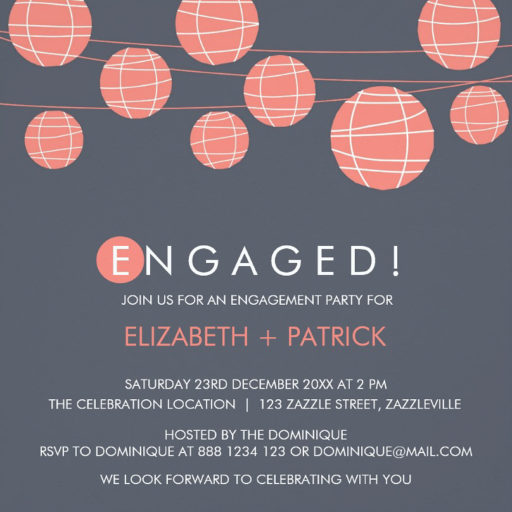 Chinese Paper Lanterns Engagement Party Invitation