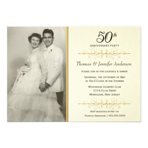 Elegant 50th wedding anniversary party invitation