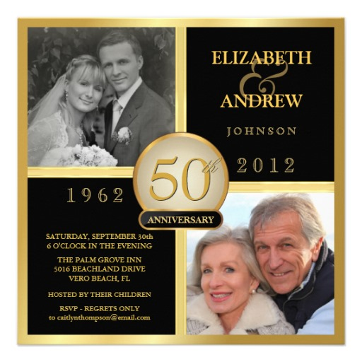 Elegant 50th wedding anniversary photo invitation