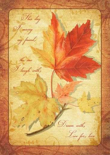 Fall Maple Leaves Wedding Invitation