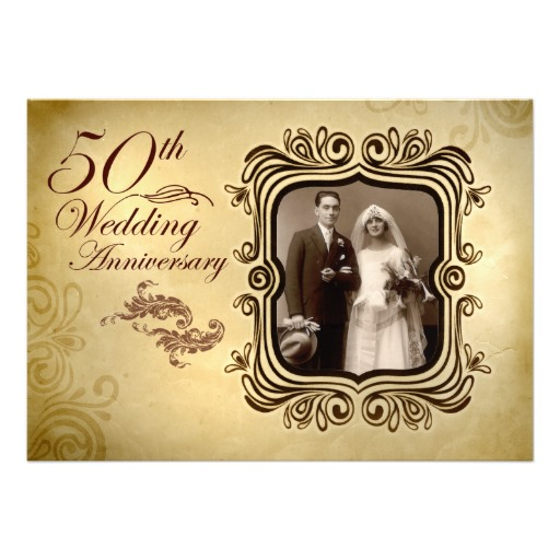 Fancy 50th wedding anniversary invitation