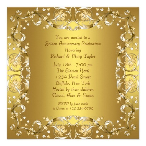 Gold victorian flowers gold 50th anniversary invitation back