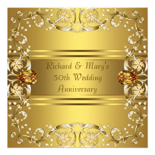 Gold victorian flowers gold 50th anniversary invitation