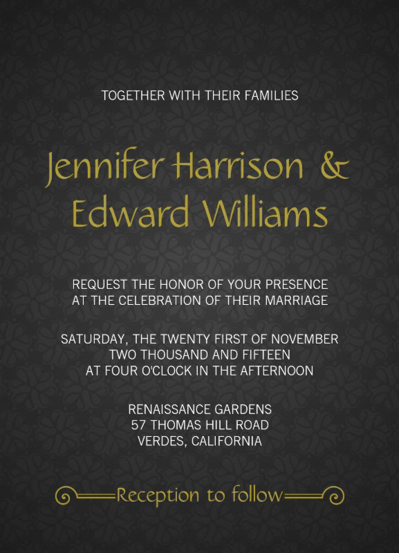 Grey Pattern Wedding Invitation