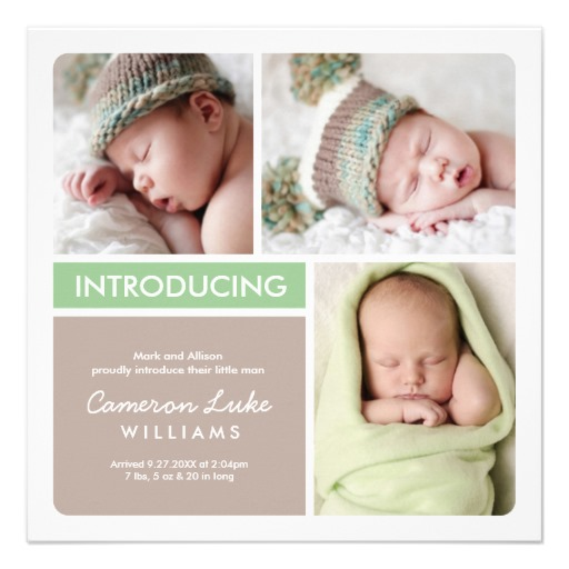 Multiple photo birth announcement green taupe