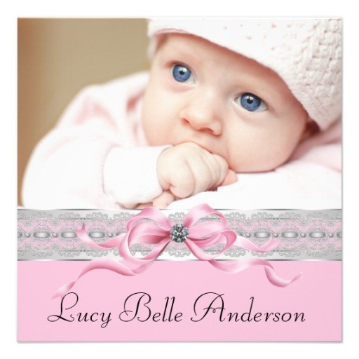Pearls pink baby girl photo birth announcement