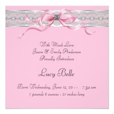Pearls pink baby girl photo birth announcement back