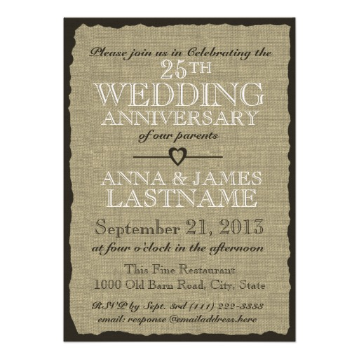 Rustic burlap wedding anniversary invitation