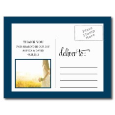 Trendy thanks wedding thank you card post card back