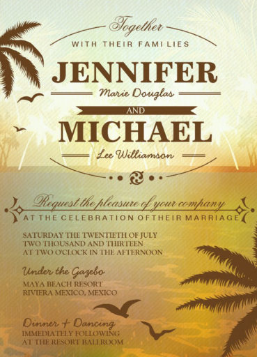 Tropical Scenic Beach Wedding Invitation
