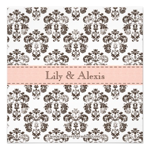 Twins damask baby announcement pink and brown back