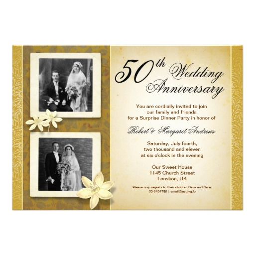 Two photos wedding anniversary invitation