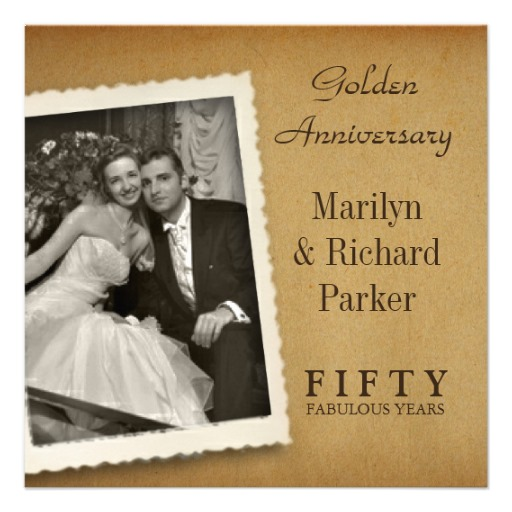 Vintage 50th anniversary photo invitation