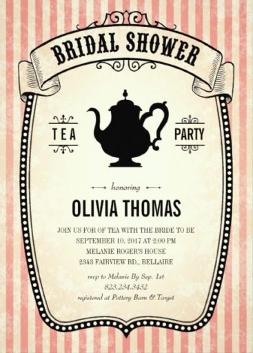 Vintage Bridal Shower Tea Party Invitation