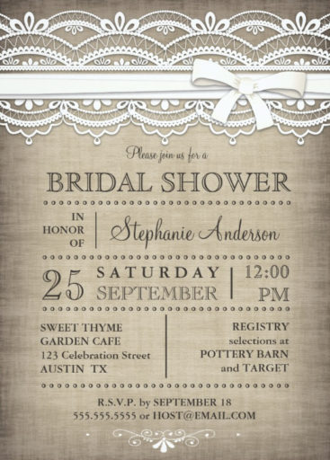 Vintage Lace Linen Rustic Country Bridal Shower Invitation