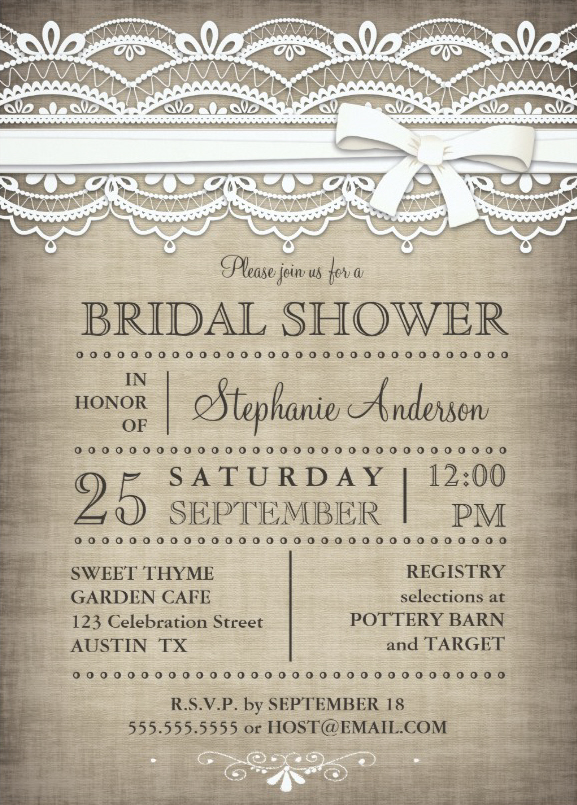 lace linen rustic country bridal shower invitation, Wedding invitations