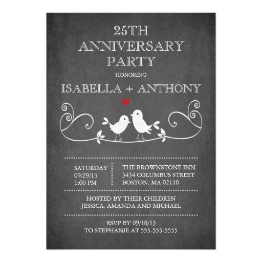 Vintage chalkboard love birds anniversary party invitation