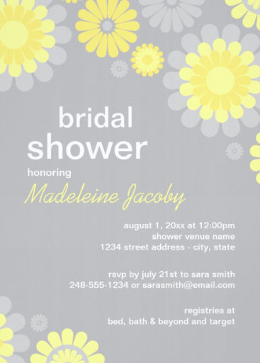 Yellow Grey Daisy Bridal Shower Invitation