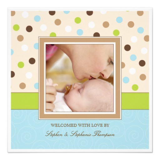 baby boy birth two photos in blue green dots announcement back
