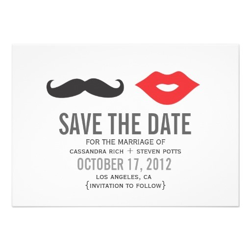 mustache lips save the date card