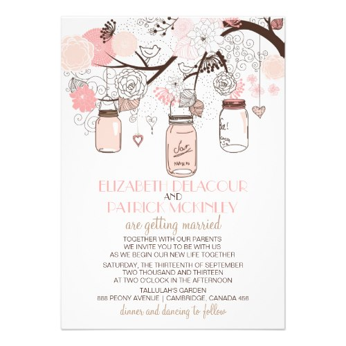 pink mason jars and love birds wedding invitation back