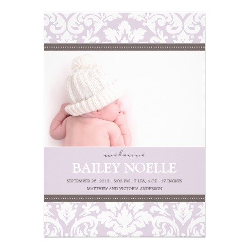 Purple damask baby birth announcement