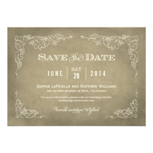 Wedding save the date card vintage wine vineyard