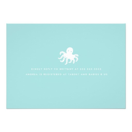 Cute ocean critters baby shower invitation back