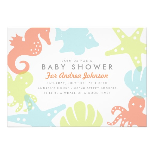 Cute ocean critters baby shower invitation - Superdazzle ...