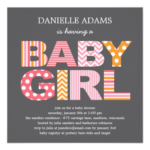 Cutout letters baby shower invitation girl