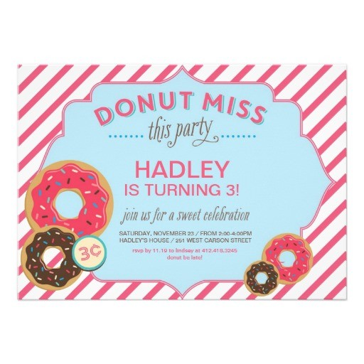 Donut miss birthday invitation