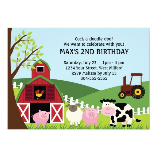 Farm kids birthday invitation