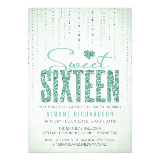 Glitter look sweet sixteen party invitation