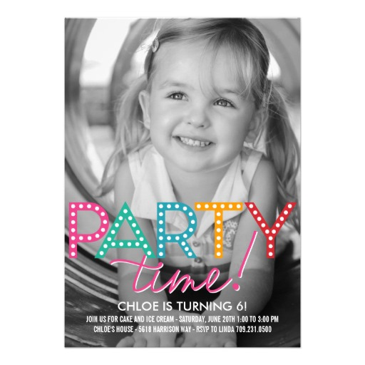 Party time photo kids birthday invitation