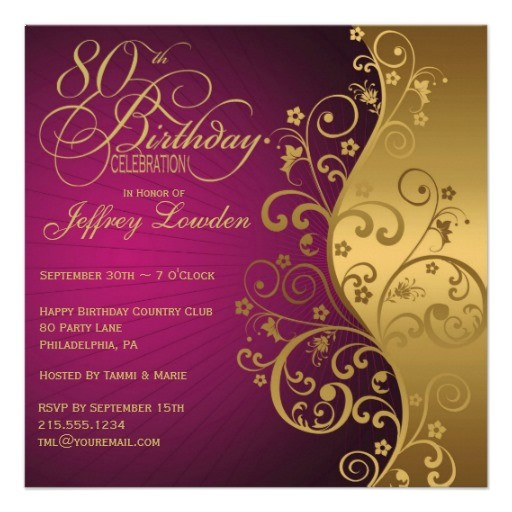 80th birthday party invitations purple and gold