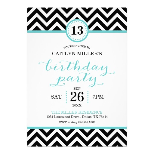 Trendy birthday party invitations zigzag chevron