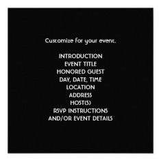 Black gold all occasion party invitations back
