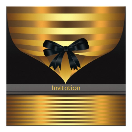 Black gold all occasion party invitations
