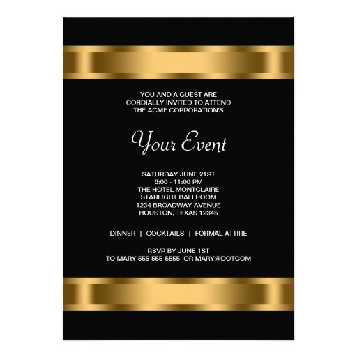 Black gold black corporate party invitation templates