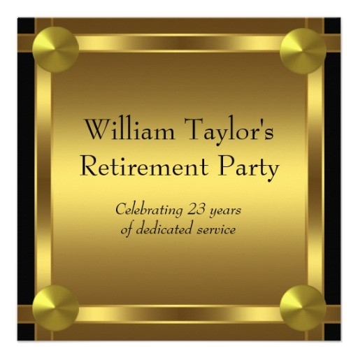 Mens retirement party invitation elegant black and gold