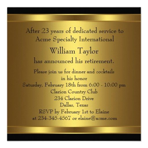 mens retirement party invitation elegant black and gold personalize!, Party invitations