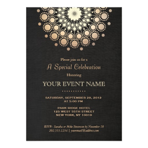 Formal party invitations elegant gold circles