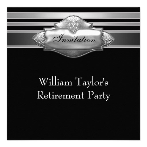 Elegant retirement party invitations gray and black