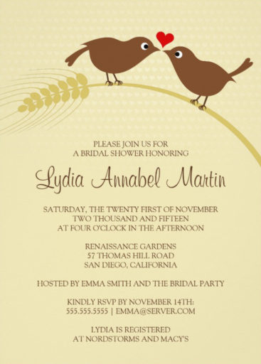 Love bird rustic bridal shower invitations