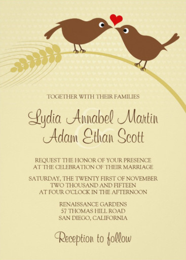 Love bird rustic wedding invitations