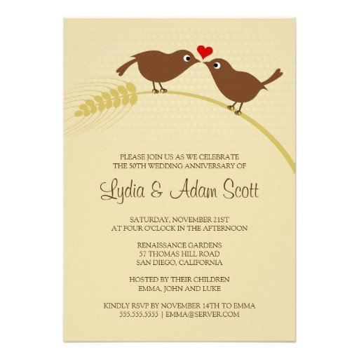 Love bird rustic wedding anniversary invitations