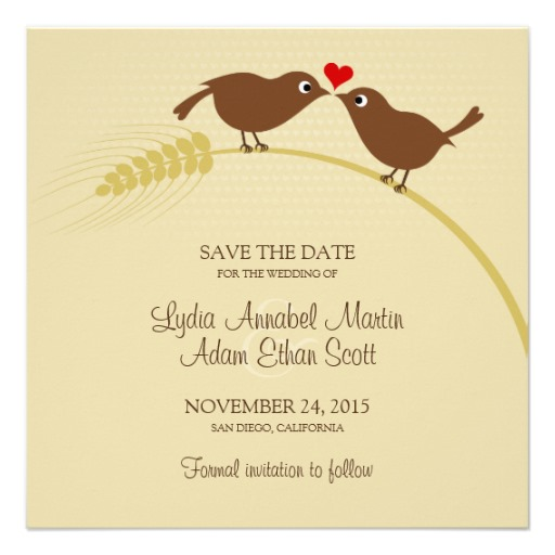 Love birds wedding save the date - square